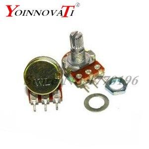 10pcs WH148 B1K B2K B5K B10K B20K B50K B100K B500K 3Pin 20mm Shaft Amplifier Dual Stereo Potentiometer 1K 2K 5K 10K 50K 100K 1M