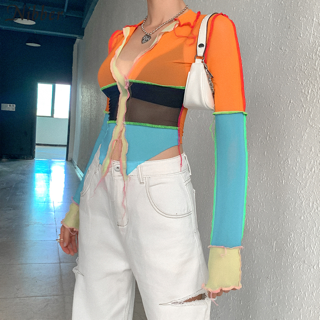Orange Mesh Cropped Tops for woman