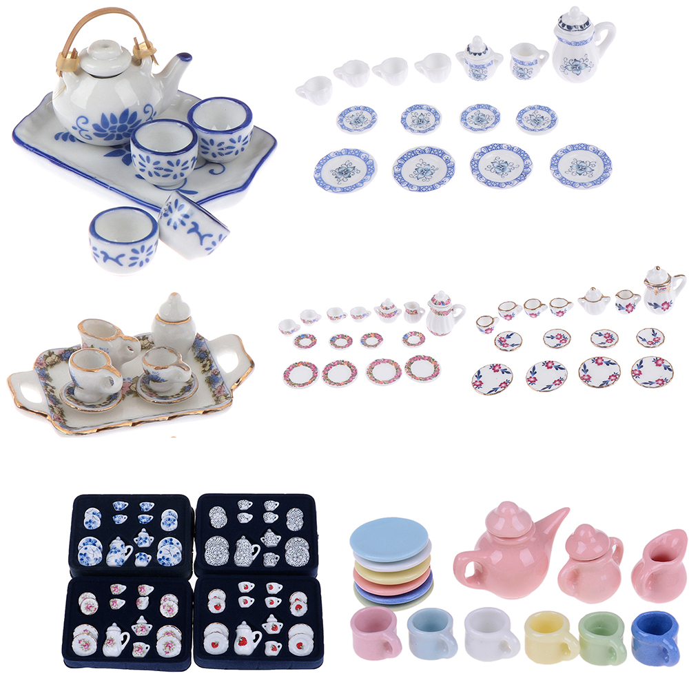 1Set 1:12 Dolls House Miniature Mugs Cups Pot Set Furniture Toys Coffee Tea Cups Dollhouse Kitchen Accessory