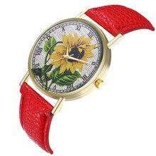 Retro style design sunflower pattern Watch New Trend Belt watch