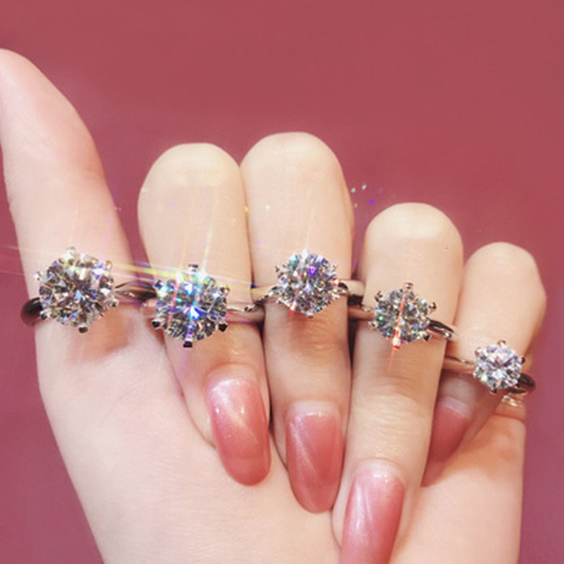 CC Rings For Women Classic Jewelry 6 Claws Cubic Zirconia Bridal Wedding Engagement Accessories Bijoux Drop Shipping CC1611 5