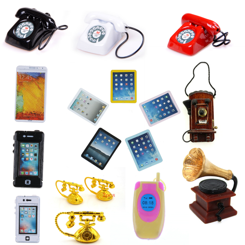 1/12 Dollhouse Miniature Phone Telephone Ipad Microphone Gramophone Wall Mount Phone Pretend Play Doll House Furniture Toys