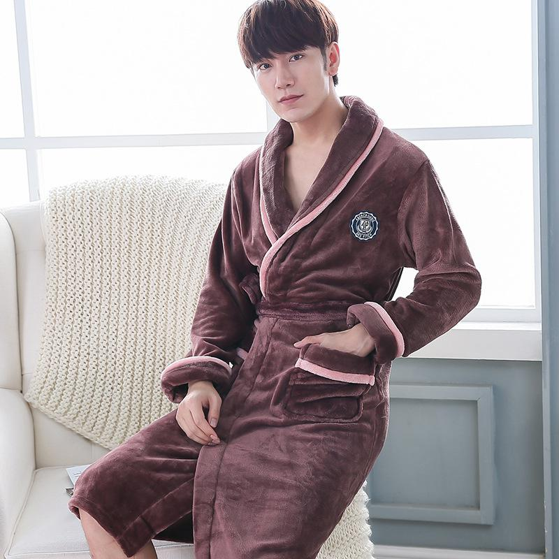 Men Casual Kimono Bathrobe Autumn Winter Flannel Long Robe Thick Warm Sleepwear Plus Size 3XL Nightgown Women Casual Home Wear