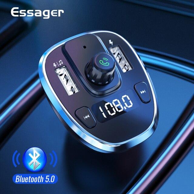 Essager USB شاحن سيارة سماعة لاسلكية تعمل بالبلوتوث 5.0 سيارة عدة يدوي FM الارسال MP3 سريع شاحن آيفون شاومي الهاتف المحمول