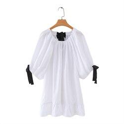 Женская модная белая блузка с круглым вырезом и черным бантом на лето 2020, женские рубашки из поплина feminina, плиссированные Блузы с оборками, т...
