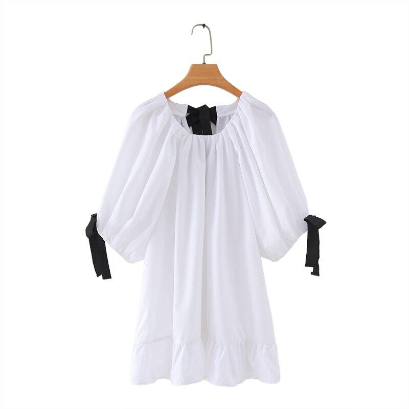 2020 Summer Women Fashion O Neck Black Bow Decoration White Blouse Shirts Women Poplin Feminina Pleat Ruffles Blusas Tops LS6479