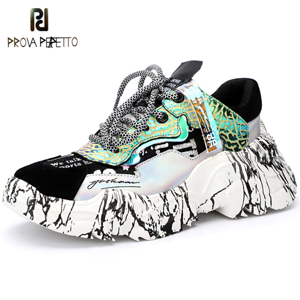 Prova Perfetto Mixed Color Platform Sneakers Leopard Horsehair Lace Up Shoes Woman Street Dad Sneakers Women Chunky Sneakers New