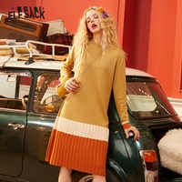 ELFSACK Black Colorblock Ruched Knit Pullover Dress Women 2020 Winter Vintage Patchwork Long Sleeve Casual Ladies Daily Dresses