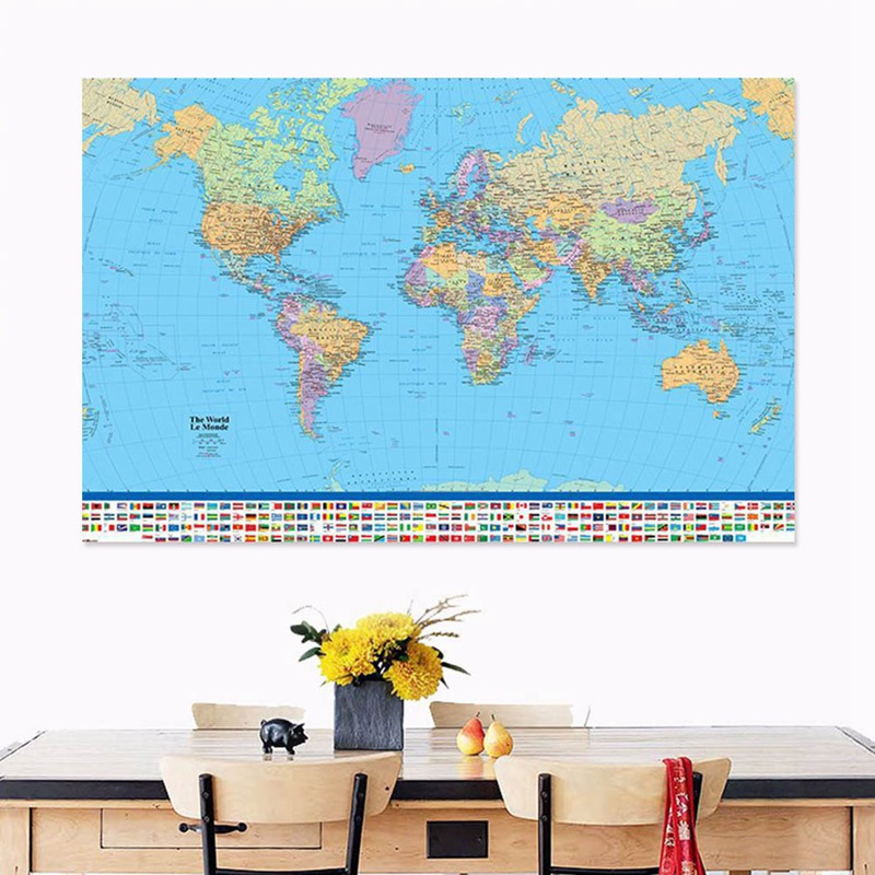 Colorful World Map With National Flag Poster Size Wall Decoration Silk Cloth Map For Living Room Decor