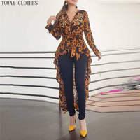 2020 herbst Frauen Elegante V-ausschnitt Boho Vintage Lange Top Weibliche Stilvolle Casual Shirt Barock Drucken Langarm Dip Saum Bluse
