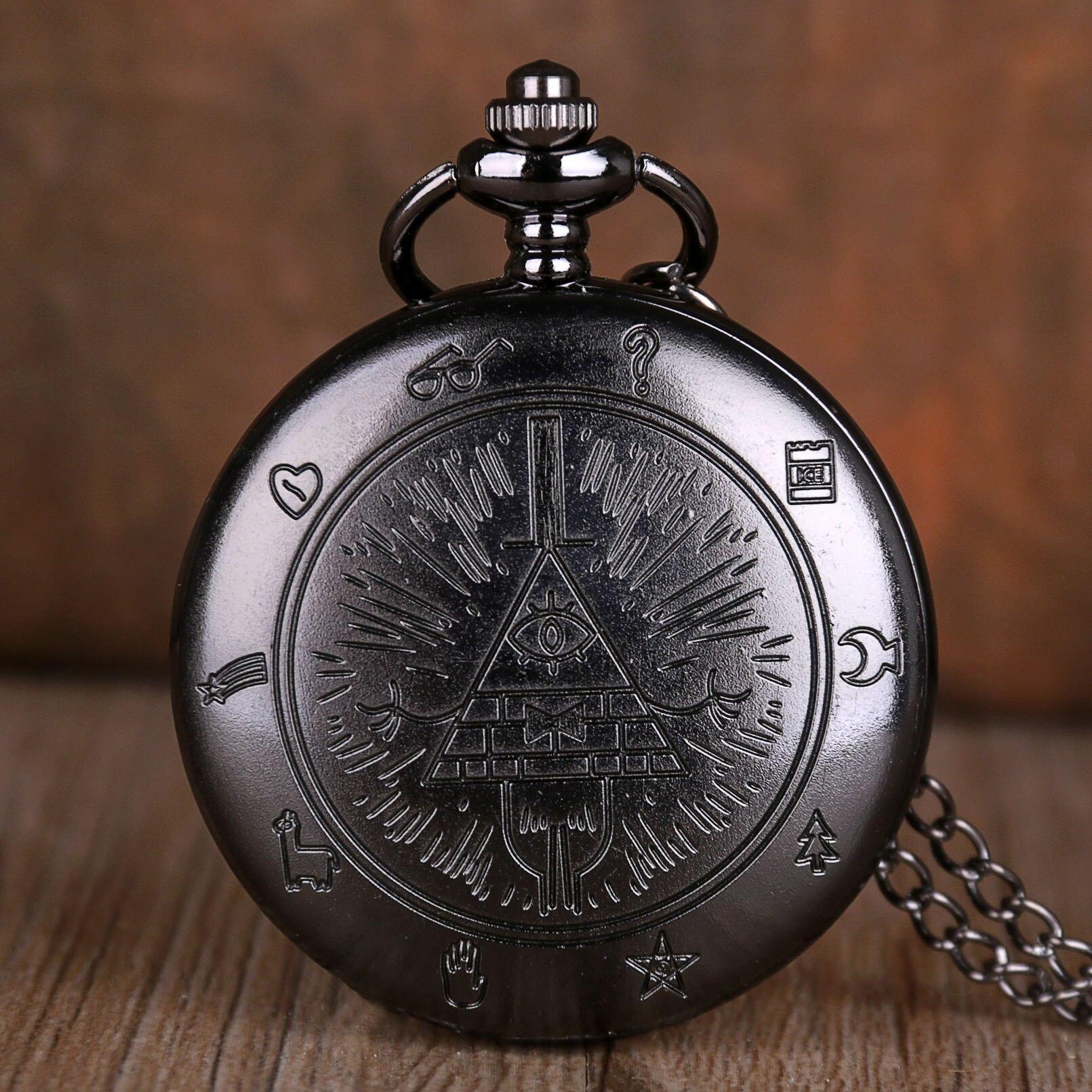 Bill Cipher Gravity Falls Steampunk Retro Antique Quartz Pocket Watch Pendant Necklace Men Women Kid Fob Watches Chain Gift