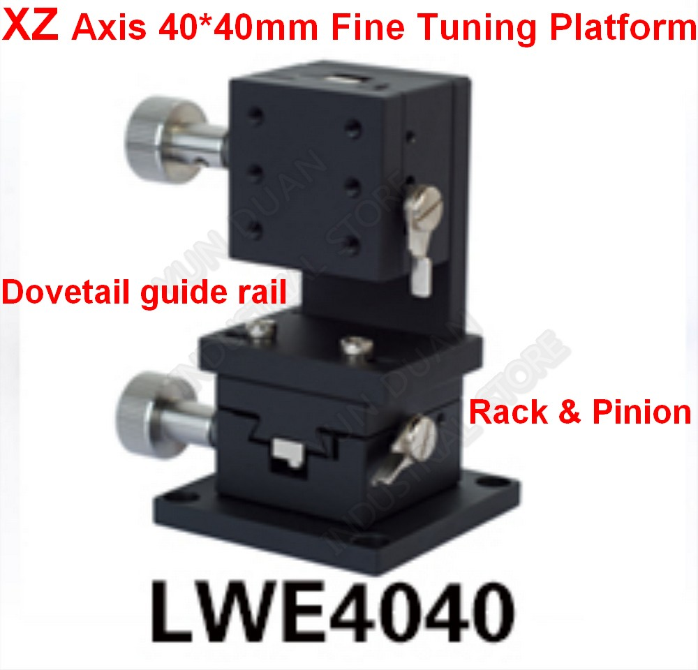 XZ Axis 40*40mm Manual Displacement Trimming Platform Fine Tuning Sliding Table Lift Dovetail Slot Guide Rack Pinion Optics Lab|Linear Guides| |  - title=