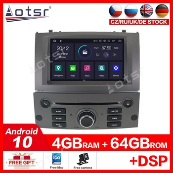 4G+64GB Android 10.0 Car DVD Player Multimedia Stereo For Peugeot 407 2004 -2010 Car with Autoradio GPS Navigation Bluetooth image