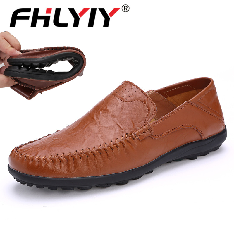 Brand Men Leather Shoes Luxury Casual Shoes Men Loafers Soft Leather Footwear Breathable Slip On Driving Men Shoes Plus Size 47