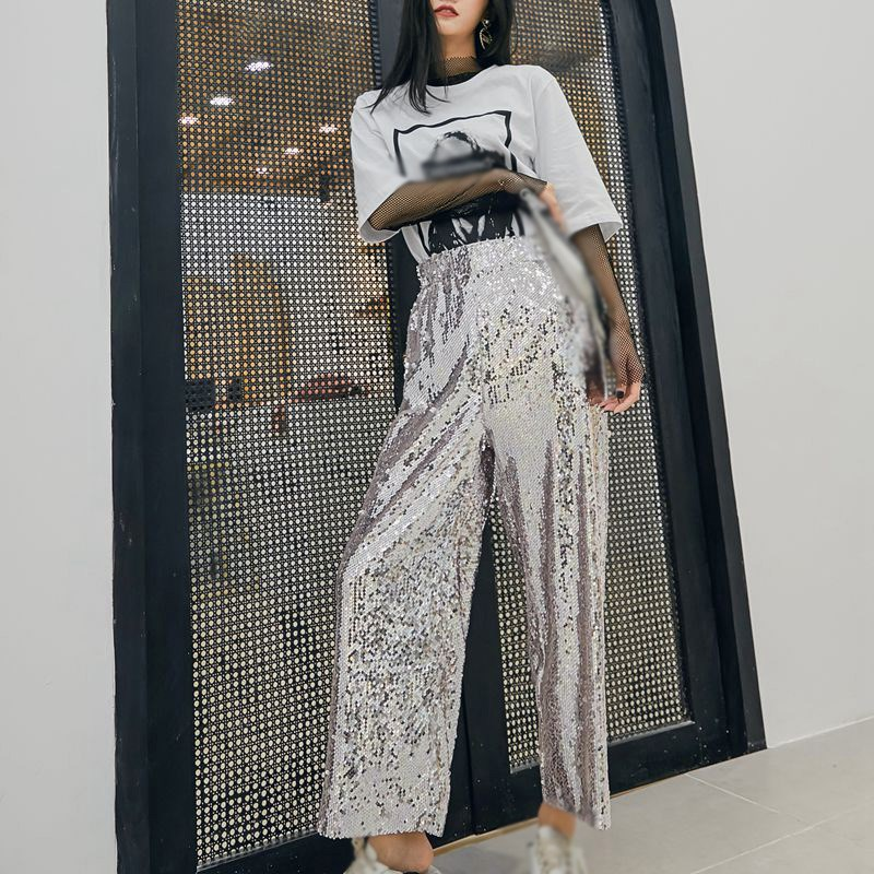 Heavy Sequins Patchwork Elastic Trousers Women High Waist Ankle Length   Wide     Leg     Pants