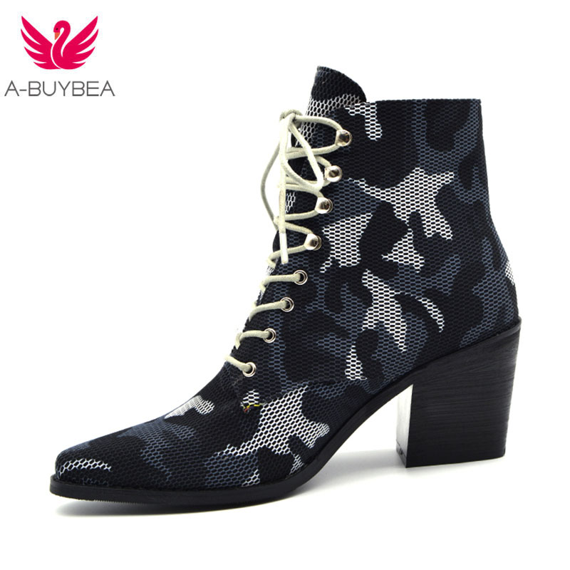 Camouflage Ankle Boots Lace-Up Design Women Autumn Winter Shoes Pointed Toe Chunky High Heels Ladies Shos 2020 New Western Boots