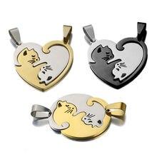 Ожерелье с подвеской в виде кошки из нержавеющей стали 1 пара