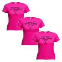 3 PACK of HEN NIGHT SUPPORT CREW Fuchsia TShirts bachelorette hen do weekend NEW(China)