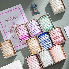 Washi Tape Kawaii de Color Simple, cinta adhesiva decorativa delgada para álbum de recortes, bricolaje, diario, Material de papelería, escuela, 10 Uds.