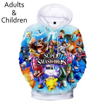 Ser bien recibido Otoño de las mujeres de los hombres sudaderas impresión completa 3D Super Smash Bros Sudaderas con capucha para niños y niñas