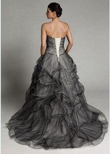 Image 4 - Robe de mariée gothique Vintage, à plis noirs et blancs, robe de mariée à volants, à plis, robe de mariée, 2020