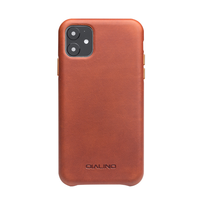 QIALINO Genuine Leather Slim Phone Case for iPhone 11/12 Mini Fashion Handmade Anti knock Back Cover for iPhone 11/12 Pro Max