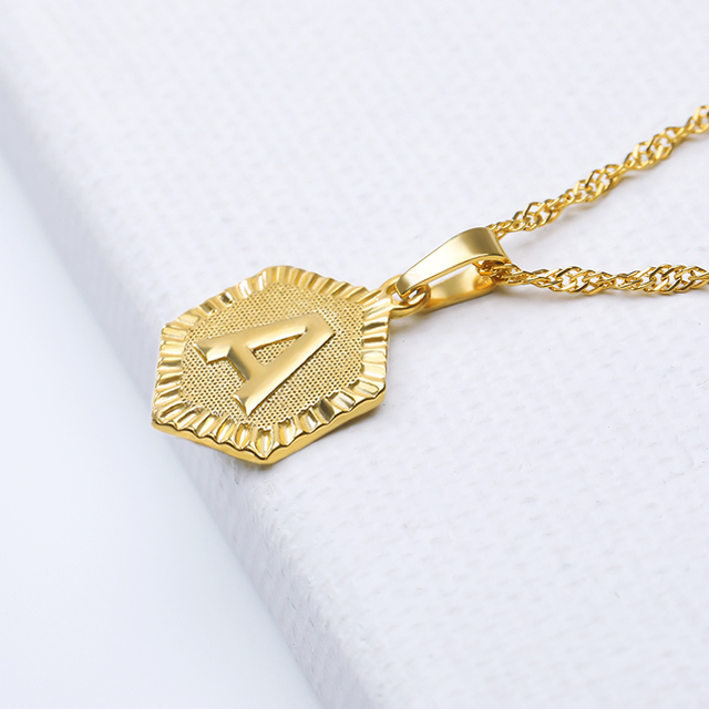 A-Z Letter Necklace Stainless Steel Gold Chain Initial Pendant Necklaces For Women Alphabet Choker Necklace Boho Jewelry Gift 4