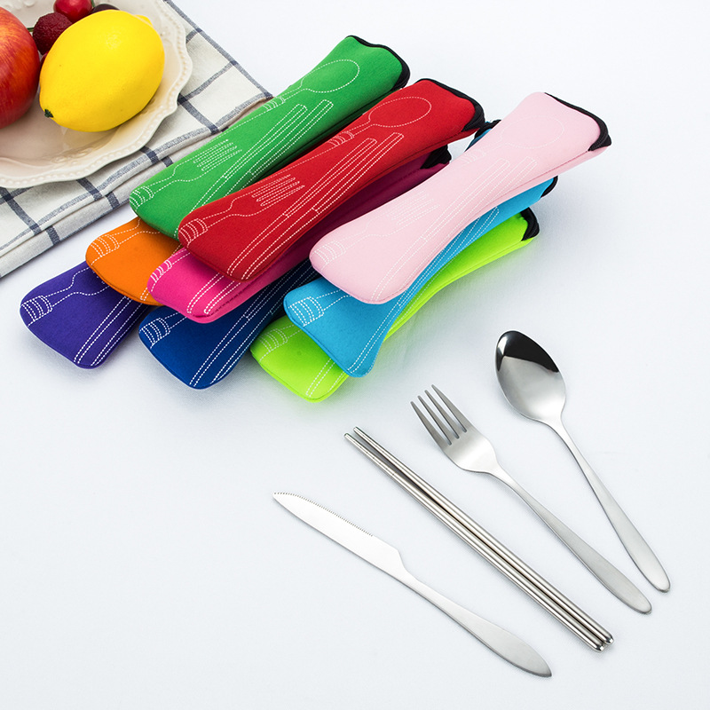 4 Pcs/Set Stainless Steel Fork Spoon Chopsticks Travel Ourdoor Camping Cutlery Tools portable Stainless Steel Tableware 9 Colors