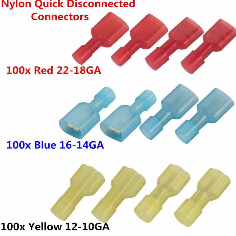 300PCS Nylon Fully Insulated Spade Cable Wire Electrical Crimp Terminals Connectors Splice Kit Assortment 10-22AWG