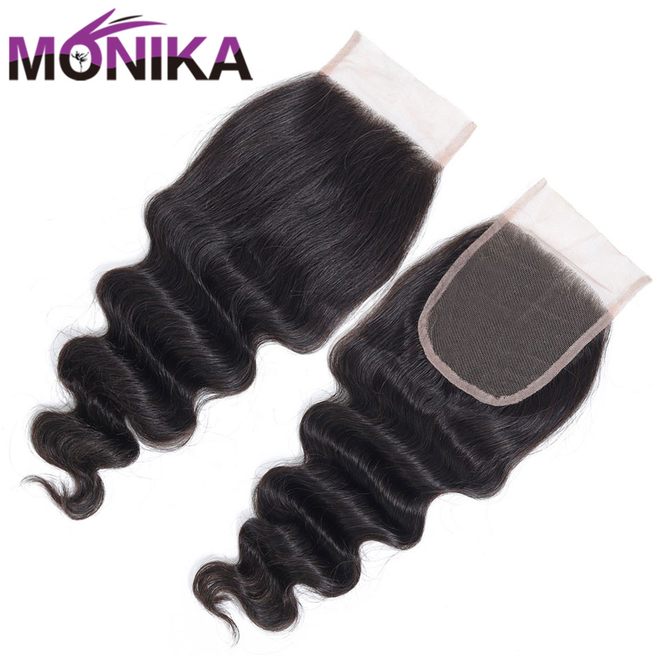 Monika 4x4 Brazilian Closure Loose Deep Wave Closure Human Hair Closures Medium Brown Swiss Lace Closure Non-Remy Natural Hair