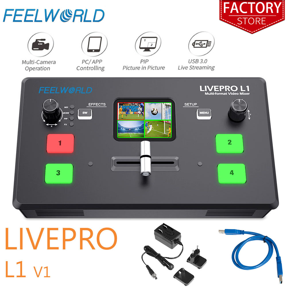 Feelworld Live Streaming Switcher Livepro L1 V1 Video Mixer Hdmi Multi-format Studio Record Preview Mode Voor Dslr Camera youtube