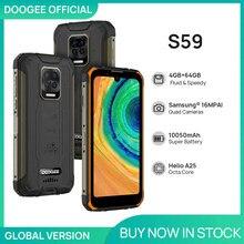 Doogee s59 telefone áspero 10050mah bateria super smartphone 4gb + 64gb celular ip68/ip69k 2w alto-falante de volume