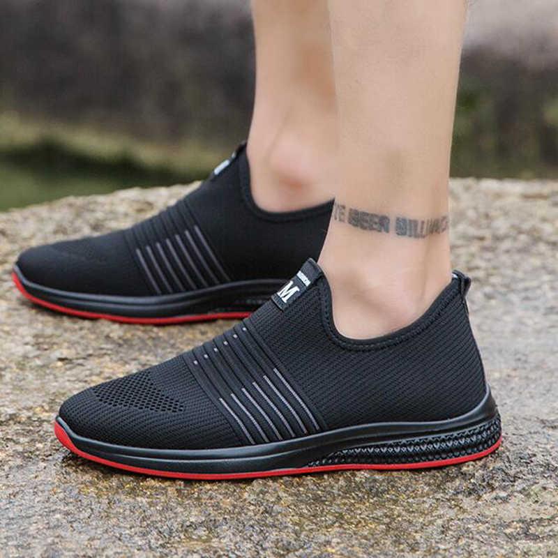 รองเท้าผู้ชายรองเท้าผ้าใบผู้ชาย Breathable Air SLIP ฤดูร้อนฤดูใบไม้ร่วงฤดูใบไม้ร่วงหนังสบายๆน้ำหนักเบารองเท้าผู้ชายรองเท้ากลางแจ้ง h433