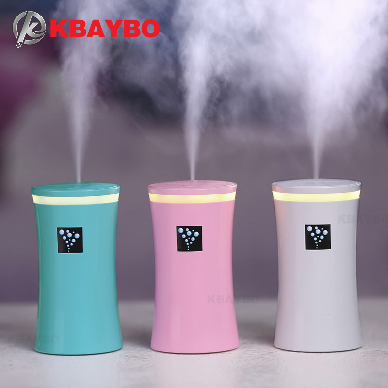 KBAYBO 230ML Mini Car Diffuser Ultrasonic Air Humidifier USB Diffusers Mist Maker With LED Lights Car Humidifier For Home Office
