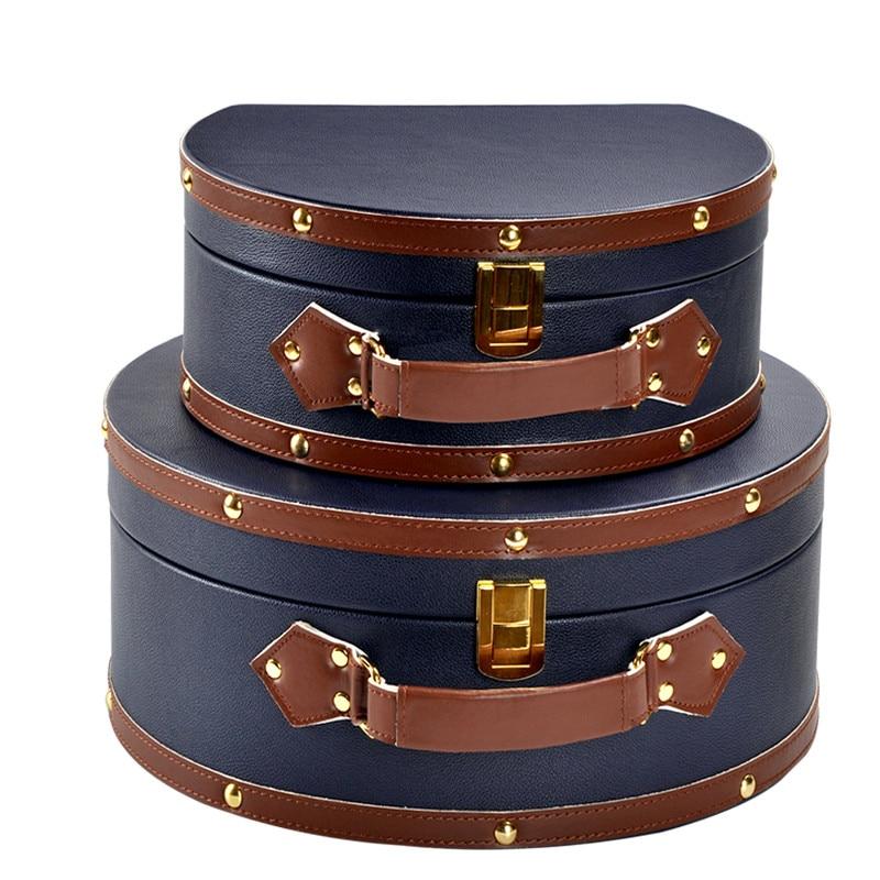Boîte de rangement en cuir boîte de rangement modèle chambre accessoires de décoration vestiaire boîte de rangement Portable boucle maquillage organisateur étui à bijoux