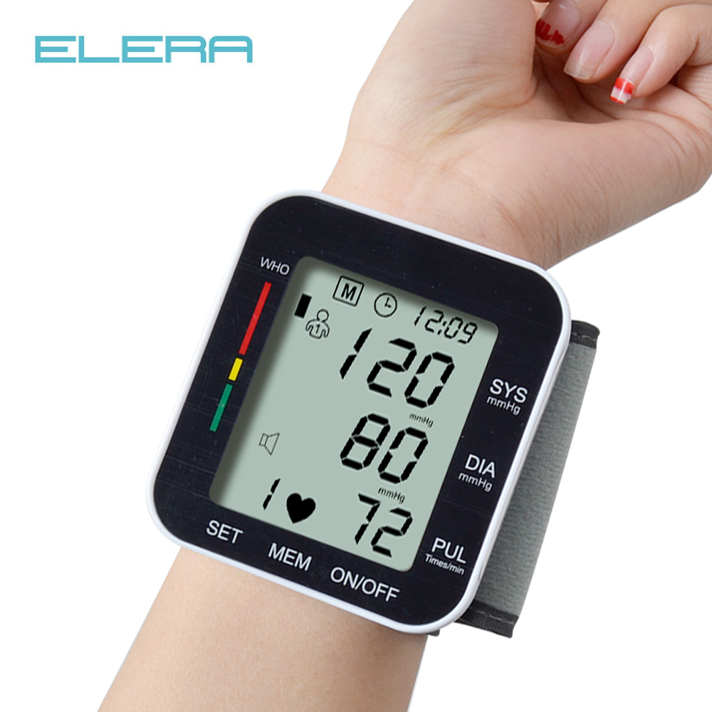 ELERA Portable Wrist Blood Pressure Monitor Automatic LCD Display Gauge Wrist Blood Pressure Meter Pulsometer Tonometer +Box