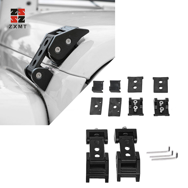 ZXMT 1 Pair Stainless Steel Aluminum Hood Latch Fit Jeep Wrangler JK JL Unlimited Accessories Locking Catch Buckle