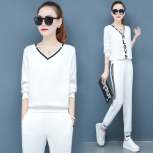 2019 European leisure suit pants fall new female western style popular small two-piece tide movement