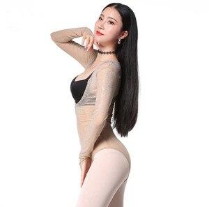 Image 4 - Женское блестящее трико с открытым бюстом, топ для танца живота с длинным рукавом и блестками