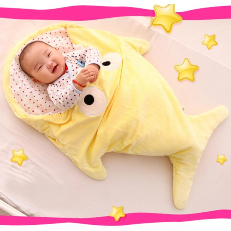 Shark Shape Winter Warm Baby Sleeping Bag Kids Cotton Blanket Swaddle Cover