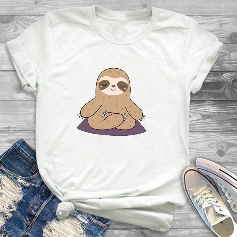 T-Shirt Tee Shirt Tees T-shirts Fashion Women Sloth Need Lots Of Coffee Funny Clothing Cartoon Womens Female Graphic T Shirt