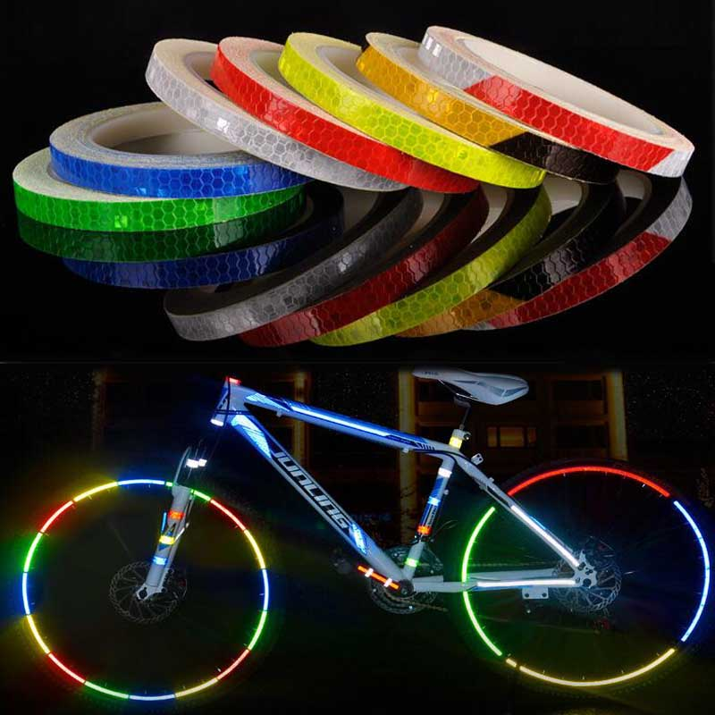 8M/PC Reflective <font><b>Stickers</b></font> Fluorescent MTB Bike Bicycle Wheel <font><b>Sticker</b></font> Rim Decal Reflective Tape for Helmet Motorcycle <font><b>Scooter</b></font> image