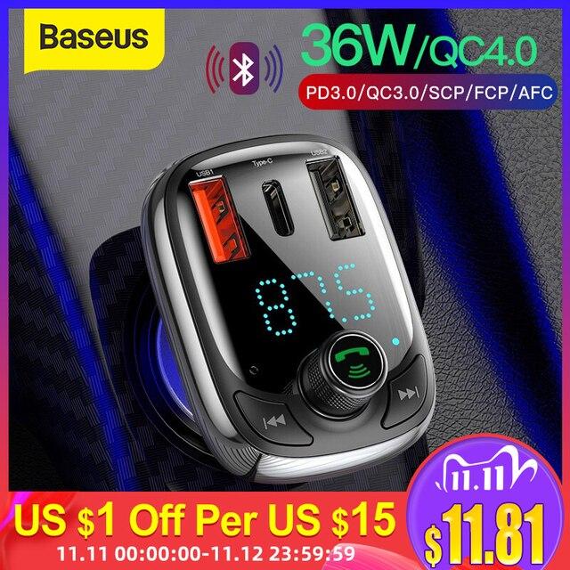 Baseus Quick Charge 4.0 Car Charger FM Transmitterบลูทูธแฮนด์ฟรีFM Modulator PD 3.0 Fast USB Car ChargerสำหรับiPhone
