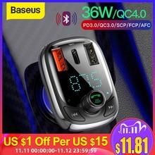 Baseus cargador de coche de carga rápida 4,0, con transmisor FM, Bluetooth, modulador FM manos libres PD 3,0, USB, cargador de coche rápido para iPhone