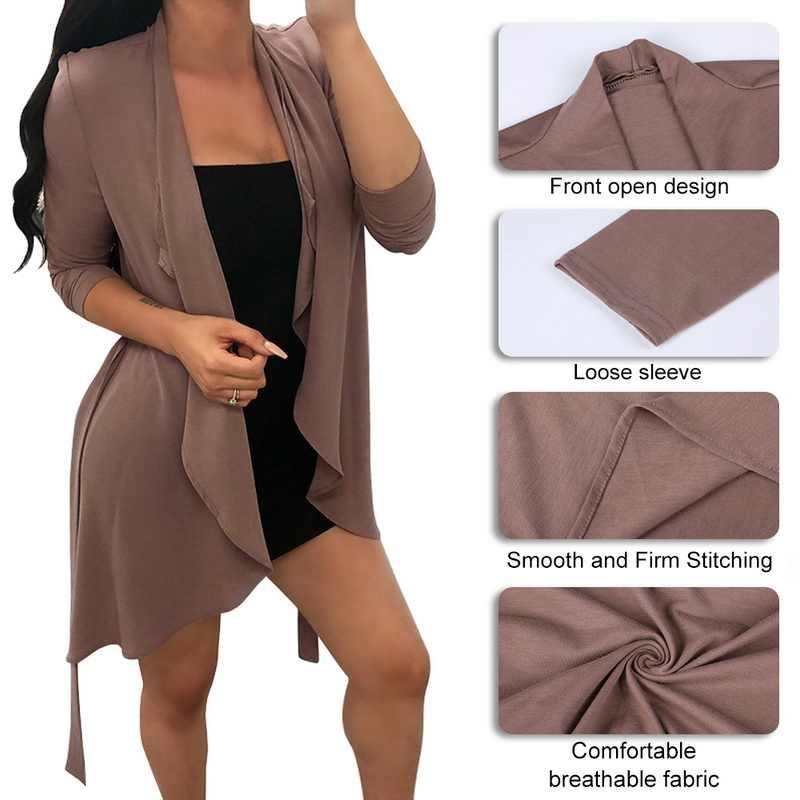 CALOFE 秋の女性カーディガン長袖不規則なロング女性のソリッドカラーの薄いセータールース女性のコートのスリム上着女性