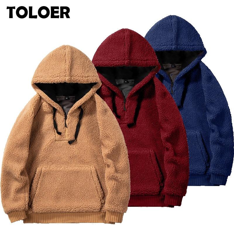 Lamb Wool Jacket Men 2020 Winter Teddy Fashion Jackets Coat Men''s Fleece Couple Pullover Half Zip Jacket Streetwear Sweatshirts