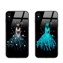 Funda de vidrio templado para teléfono móvil iPhone, carcasa luminosa con luz LED para llamadas, para iPhone 12, mini, 11 Pro Max, 8, 7, 6s Plus, XR, X, XS MAX