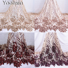 HOT african lace fabric Embroidered sequin flower lace fabric 5yards sewing DIY trim applique Ribbon collar dress guipure decor 20cm wide new colorful embroidery flower lace collar fabric sewing applique diy ribbon trim wedding dress guipure new year decor
