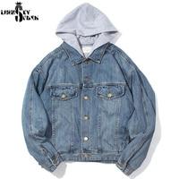 Denim Jacket Men Motorcycle Bomber Jacket Jeans Wear Jacket Hat Hiphop Off Streetwear Blue Cotton Coat Harajuku Fashion Cowboy