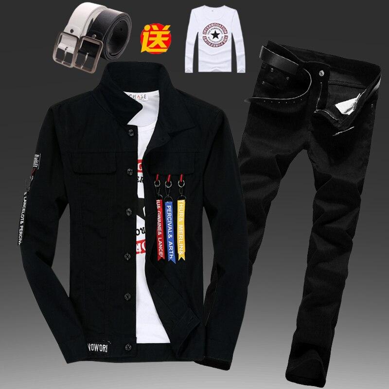 Autumn Mens Denim Jacket Jeans Trousers Pencil Pants Slim FIt Boys Streetwear 2pcs Set Short Coat Straight Pant With Pendant B77